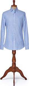 Niebieska koszula LANCERTO z kołnierzykiem button down z długim rękawem