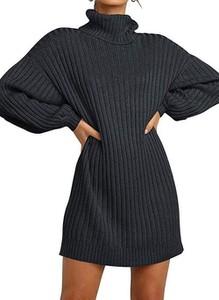 Czarna sukienka Cikelly w stylu casual z długim rękawem z golfem
