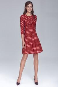 Czerwona sukienka NIFE w stylu casual z okrągłym dekoltem mini