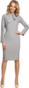 Sukienka MOE midi z tkaniny z długim rękawem