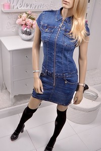 Sukienka Obsessionforyou mini w stylu casual z jeansu