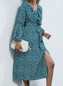 Niebieska sukienka Cikelly z dekoltem w kształcie litery v midi w stylu boho