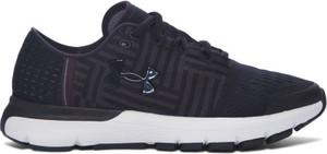 Granatowe buty sportowe Under Armour sznurowane w sportowym stylu w geometryczne wzory