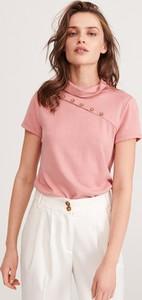 Różowa bluzka Reserved z krótkim rękawem w stylu casual