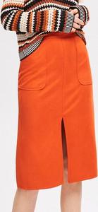 Pomarańczowa spódnica Reserved midi w stylu casual