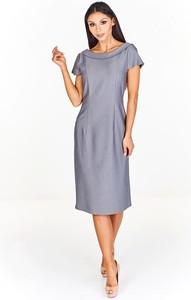 Niebieska sukienka Fokus midi z krótkim rękawem