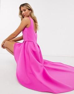 Różowa sukienka True Violet asymetryczna maxi