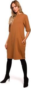 Sukienka MOE z okrągłym dekoltem z bawełny z krótkim rękawem