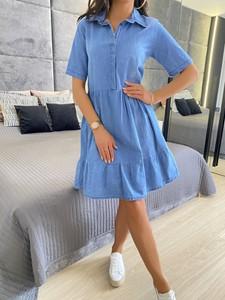 Niebieska sukienka ModnaKiecka.pl z długim rękawem w stylu casual oversize
