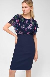 Granatowa sukienka ORSAY dopasowana z krótkim rękawem mini