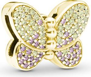 Valerio Pozłacany srebrny charms pandora koralik reflexions motyl butterfly cyrkonie srebro 925 BEAD194Y