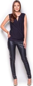 Czarna bluzka Figl z dekoltem typu choker