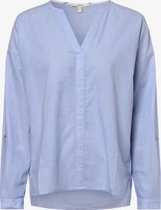 Niebieska bluzka Esprit z dekoltem w kształcie litery v w stylu casual z długim rękawem