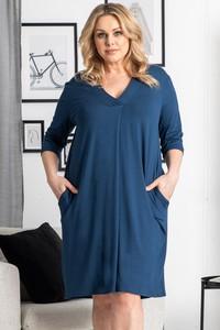 Niebieska sukienka KARKO mini z tkaniny oversize