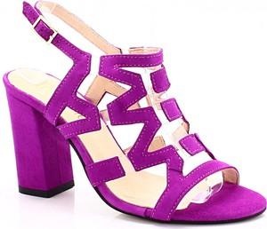 Fioletowe sandały Tymoteo na obcasie na wysokim obcasie w stylu klasycznym