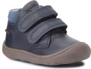 Niebieskie buty dziecięce zimowe Primigi na rzepy z zamszu