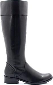Czarne kozaki Caprice przed kolano ze skóry w stylu klasycznym