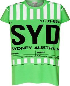 Zielony t-shirt MRZ w młodzieżowym stylu z krótkim rękawem z okrągłym dekoltem