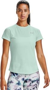 Zielony t-shirt Under Armour w sportowym stylu z okrągłym dekoltem z krótkim rękawem