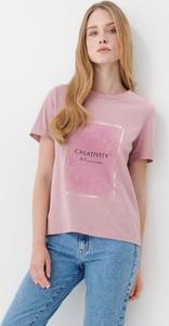 Różowy t-shirt Mohito z krótkim rękawem