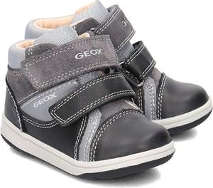 Granatowe buty dziecięce zimowe Geox z zamszu na rzepy