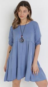 Niebieska sukienka born2be z długim rękawem w stylu casual mini