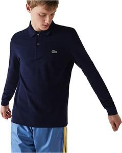 Niebieska koszulka z długim rękawem Lacoste z bawełny z długim rękawem w stylu casual