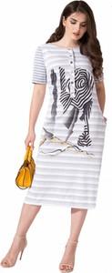 Sukienka Artmio midi z okrągłym dekoltem w stylu casual