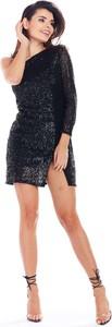 Czarna sukienka Awama mini z długim rękawem