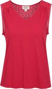 Czerwona bluzka Mountain Warehouse z tkaniny bez rękawów z okrągłym dekoltem