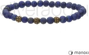 Silverado granatowa bransoletka ze złotymi kulami, lapis lazuli, stal szlachetna 77-ba497gj