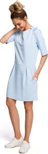Sukienka MOE mini z okrągłym dekoltem z dresówki