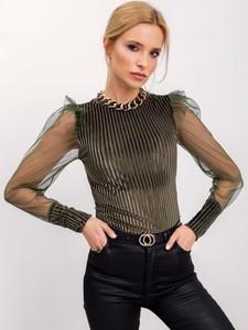 Zielona bluzka Sheandher.pl z długim rękawem w stylu casual