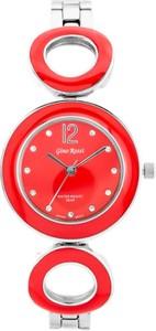 ZEGAREK DAMSKI GINO ROSSI - 8223B - SFERICO (zg518g) silver/red + BOX - Czerwony    Srebrny