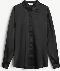 Czarna koszula Reserved z jedwabiu z długim rękawem w stylu casual