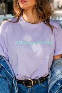 Fioletowy t-shirt Chiara Poland z krótkim rękawem z bawełny