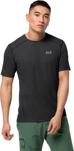 Czarny t-shirt Jack Wolfskin z dzianiny