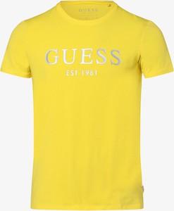 Żółty t-shirt Guess Jeans z krótkim rękawem