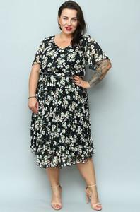 Sukienka KARKO w stylu casual midi z dekoltem w kształcie litery v