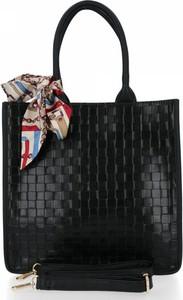 Czarna torebka Herisson lakierowana na ramię w stylu glamour