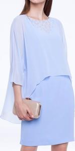 Niebieska sukienka L'AF z długim rękawem z okrągłym dekoltem
