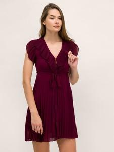 Czerwona sukienka Twinset z dekoltem w kształcie litery v mini
