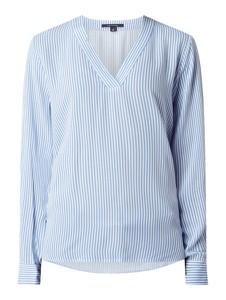 Niebieska bluzka comma, z długim rękawem z dekoltem w kształcie litery v