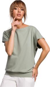 Zielona bluzka MOE z krótkim rękawem