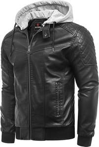 Czarna kurtka Risardi krótka ze skóry