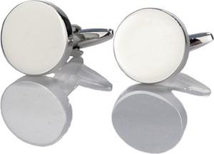 Em Men`s Accessories Spinki do mankietów klasyczne srebrne okrągłe gładkie EM 16