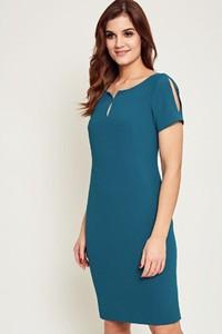 Niebieska sukienka Kaskada z krótkim rękawem