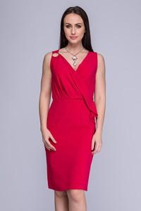 Różowa sukienka Semper z dekoltem w kształcie litery v midi z tkaniny