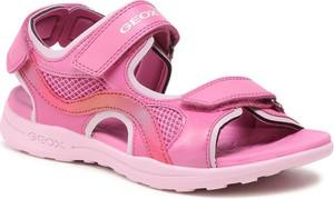 Różowe buty dziecięce letnie Geox dla dziewczynek na rzepy