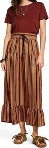 Brązowa sukienka Scotch & Soda z okrągłym dekoltem z krótkim rękawem maxi